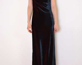 90's two tone velvet maxi dress, navy blue and burgundy red velvet long dress, minimalist slit grunge dress, vintage velvet dress medium