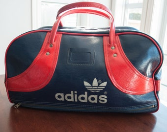 70s Adidas bag blue and red Faux Leather 1970 - Adidas handBag