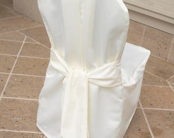 CLEARANCE Elegant Ivory Satin Chair Cover With Self Sash/ Wedding  Decoration/ Wedding Chair Cover/ Quinceanera/banquet Chair Covers