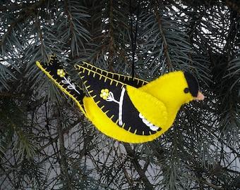 Wool Felt Goldfinch Ornament, Folk Art Goldfinch, Embroidered Goldfinch Ornament