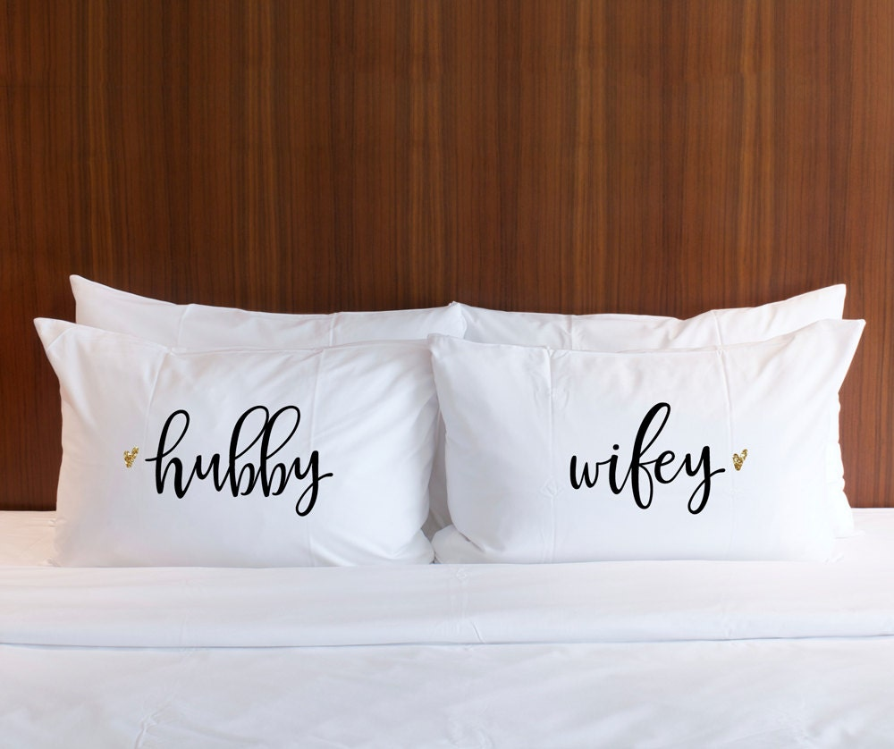 Pillowcases Wedding Gift Hubby Wifey Pillow Case Set Gold