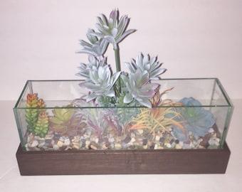 Faux Succulent Terrarium, Artificial Succulent, Faux Succulent Planter, Modern Arrangement, Housewarming Gift, Succulent Gift for Mom
