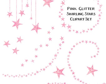 Sparkling Pink Blush Glitter Star Clipart, Swirling Stars Clip Art, Instant Download, Commercial Use Glitter Clipart