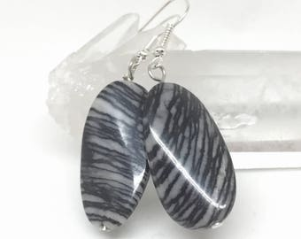 Picasso jasper earrings, jasper jewelry, jasper earrings, semi precious stone earrings, black grey earrings, oval earrings, Picasso marble