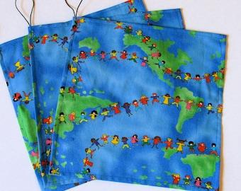 Kids Around the World - Reusable Sandwich Wraps/Bags - 100% Cotton