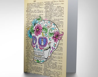 Sugar Skull Card / Mexican Sugar Skull / Upcycled Art / Day of the Dead Card /  Dictionary  Art CP2865