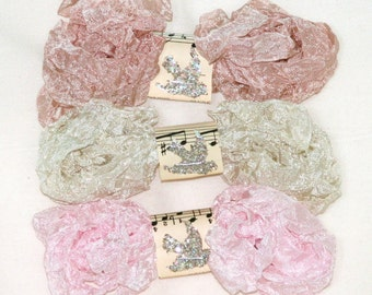 Shabby Wrinkled Seam Binding - Crinkled - 18 yds. - ANGEL TEARS - Blush Pink, Light Beige - Pinkish Beige , Vintage Style Ribbon