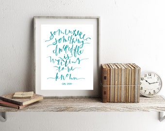 Something Incredible / Sagan Quote / Hand Lettered / Hand Painted / 8 x 10 / Art Print / Typography / Watercolor / Aqua / Modern Minimalist