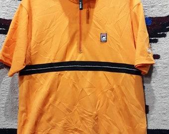 Rare vintage 90s Fila half zipper - jersey material - 100polyster - size L mens tshirt