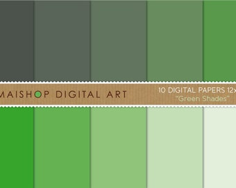 Solid Color Digital Paper 'Green Shades' for Crafts, Scrapbooking, Decoupage, Invitations...