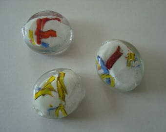 Set of 3 white Lampwork beads