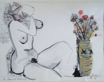 Inkdrawing Nude woman sitting on a floor in a studio and a vase with flowers with a splash of watercolour and drawing on paper  signed dated