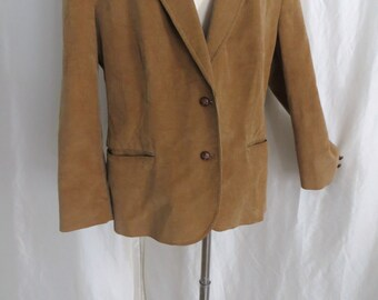 70s Mens vintage jacket, corduroy blazer, camel sportsjacket sportcoat, Spring Fall, leather buttons, Higbees size 44