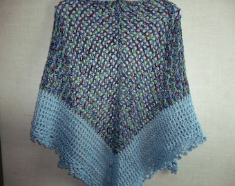 Hand Crocheted Lacy Blue Ombre and Light Blue Triangle Shawl