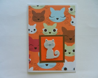Gray Kitty Cat Handmade Greeting Card - blank any occasion or to welcome a new cat