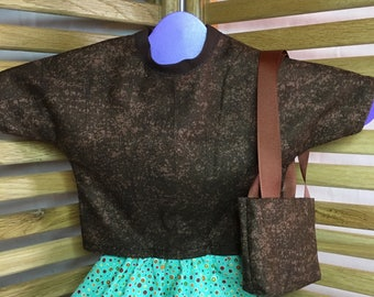 "Clothing for 18"" Dolls - Short polkadot skirt, Brown top & purse"
