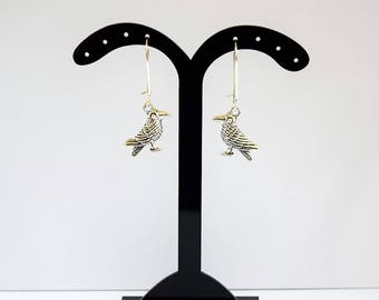 Cute Antique Silver Tone Crow Design Silver Plated Drop Earrings