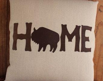 Buffalo themed HOME pillow