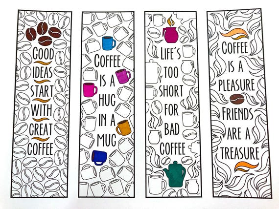 Coffee Quote Bookmarks PDF Zentangle Coloring Page