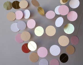 Bridal shower decor, Bridal shower decorations, Gold, pink, white and beige paper garland, Baby shower decor, Wedding garland, KMCG-8503