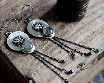 Labradorite Earrings   Sterling silver Earrings   Lotus Earrings   Lapis Lazuli Earrings   Handmade Earrings   Dangle Earrings  