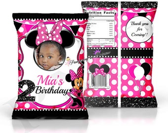 Digital Pink Minnie Mouse Chip Bag, Minnie Mouse Birthday Party, Treat Bag, Party Favors, Minnie Party Printable