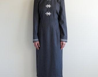 vintage black and white check cotton china dress / US6