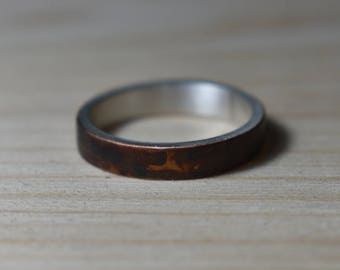 Antique Copper Womens Wedding Band. Antique Copper Wedding Rings. Unisex Copper Wedding Band. Wedding Band Oxidized Copper