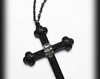 Black Cross Necklace with Skull, Gothic Jewelery, Statement Necklace, Large Cross Pendant, Gothic Gift, Alternative Jewelry, Victorian