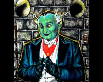 """Print 8x10"""" - Grandpa Munster in his Dungeon - The Munsters Dracula Horror Vintage Science Fiction Sci Fi Al Lewis Gothic Frankenstein Pop"""