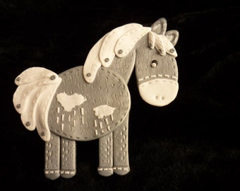 """Brooch """"horse in the clouds"""", polymer clay,"""
