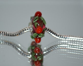 European Dark Red Glass Bead with Red and Green Knobby Accents