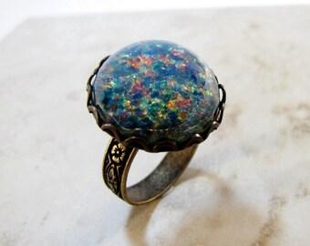 Blue Glass Opal Antiqued Brass Adjustable Ring