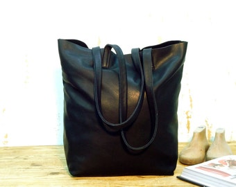 Sale!!! Black Leather Tote - Soft Leather tote Bag, Handmade tote, shopper tote, leather cross body tote bag