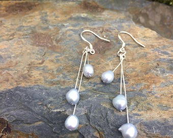 Freshwater Cultured Pearl and Sterling Silver drop Earrings