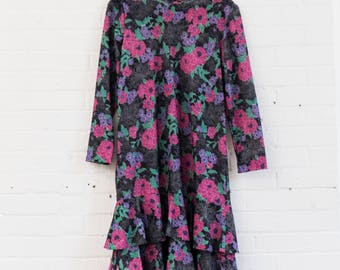 Vintage Floral Ruffle Dress