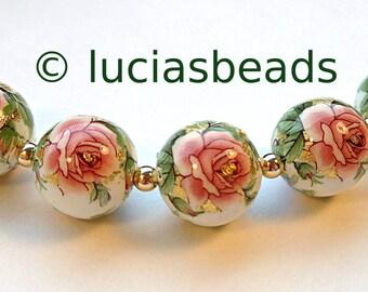 NEW Beautiful  Japanese Tensha Beads Pink Rose on White 12 MM