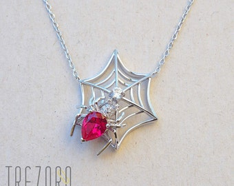 Spider In A Web Necklace Sterling Silver With Red Cubic Zirconia Rhodium Plated