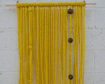 Yellow with dark beads Yarn Wall Hanging, Boho Wall Art | Macrame Wall Hanging | Bohemian Wall hanging Tapestry