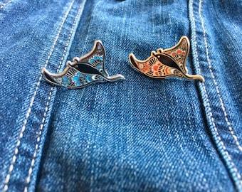 Manta Ray Gold and Silver Enamel Pins