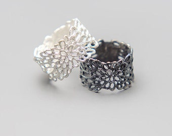 Lace Ring, Snowflake Ring, Filigree Ring, Wide Band Ring, Cut Out Ring, Tube Ring, Frozen Jewelry