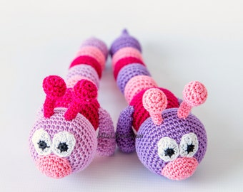 Sale Teething baby toy Crochet baby toy Grasping and Teething Toys Crochet toy rattle Caterpillar Baby Toy Crocheted Caterpillar