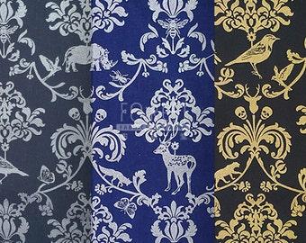 Echino Classic Animal cotton linen Japanese Fabric metallic silver gold fabric- 50cm