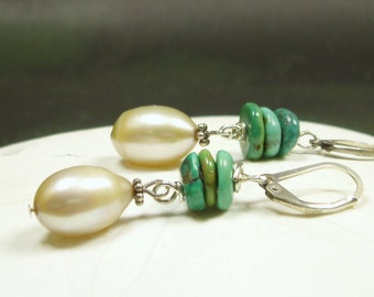 Light Gold Pearl Turquoise Earrings/ Large Freshwater Teardrop Pearl/ Genuine Turquoise/ Sterling Silver Earrings