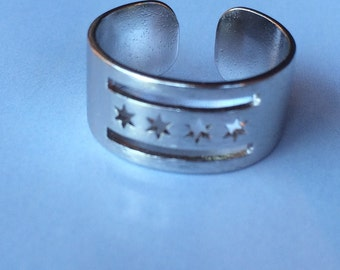 Silver Chicago Flag Ring