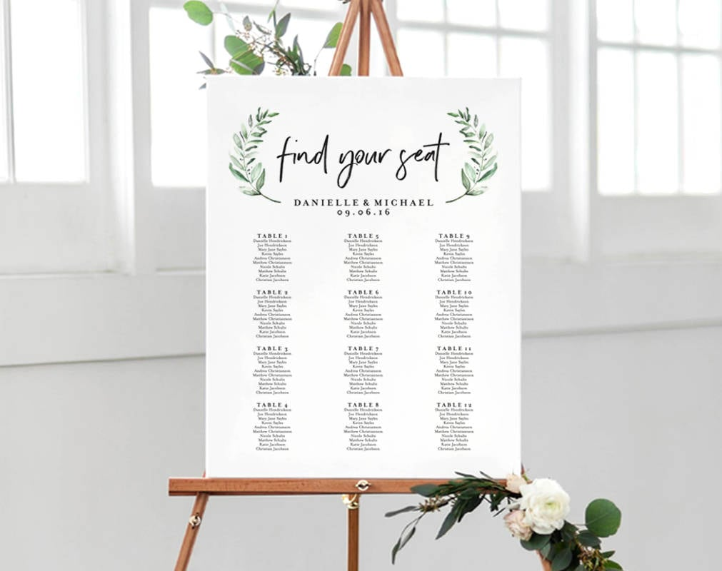 greenery wedding sign seating chart sign wedding seating