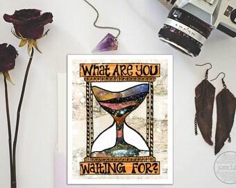 hourglass art - motivational wall decor - bohemian art - hourglass print