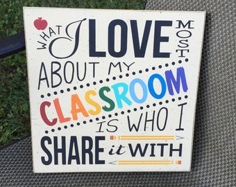 What I love most about my classroom is who I share it with - typography word art teacher gift