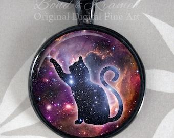 Cat Spirit Animal Space Pendant - Astronomy Galaxy Nebula Spirit Cat Lover Gift Astronomy Lover Cat Totem
