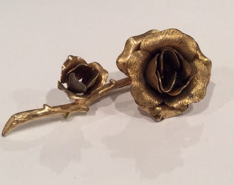 Vintage Golden Rose Brooch, Long Stem roses, Mother's Day, textured and polished, Flower Brooch, Double Roses
